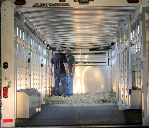 On September 29, 2015, the 8'x28' shiny Glendenning Farms trailer backed up to Drag Iron's suite/stall, with deep shavings and new green hay.