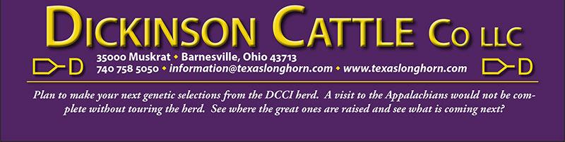 Dickinson Cattle Co, LLC. 35000 Muskrat Rd. Barnesville, OH 43713 - 740-758-5050 - information@texaslonghorn.com - www.texaslonghorn.com